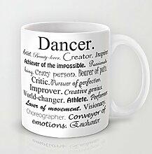 Beauty Kaffee Tasse Einzigartiges Keramik Geschenk Tänzerin Beschreibung Kaffee Tasse Tee Kakao Kaffee Cup 11Oz Tasse Great Novelty Geschenk für Männer, Frauen, Oma, Opa, Freunde, Boss und Lehrer
