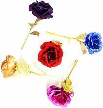 Beauty360 5 Stück / Los 24K Goldene Rosen-Blumen-Geburtstags-Geschenk-Dekoration-Frauen Tagesgeschenk 5 Farbe für Wahlen verblassen nie [Länge 26cm] [Knospen-Durchmesser 8cm] 5 Stück viel (5 Farbe)