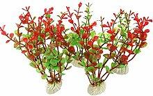 beautybouse 5x rot grün künstliche Kunststoff Pflanzen Wasser Gras Fisch Tank Aquarium Ornaments Decor Landschaft Zubehör