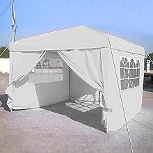 Beautytalk Pavillon Party Camping Zelt Faltbar Zelt Partyzelt Festzelt mit 4 Stück Seitenwände für 3x3m Polyester Baldachin DE Lager (weiß)