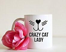 Becher Crazy Cat Lady Funny Tasse Cat Lovers Tasse