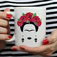 Becher für Sie Frida Kahlo und Blumen