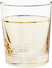 Becher Glas mit Goldrand, bernsteinfarben getönt