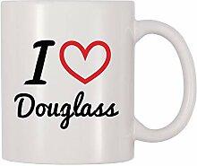 Becher Ich liebe Douglass Personalisierter Name
