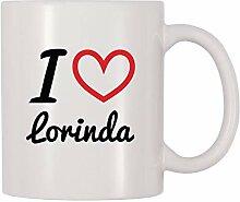 Becher Ich liebe Lorinda Personalisierter Name