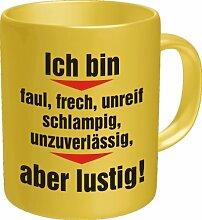 Becher Kaffeetasse faul frech lustig Geschenk Geburtstag Büro