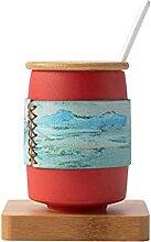 Becher Kaffeetasse Keramikbecher,Mit Deckel Und