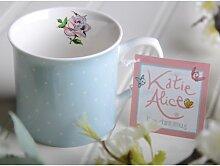 Becher Kaffeetasse PUNKTE blau H 8,5cm Ø 8cm Porzellan Katie Alice Creative Tops (6,95 EUR / Stück)