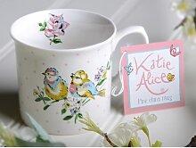 Becher, Kaffeetasse VOGEL weiß Ø 8cm H 8,5cm Porzellan Katie Alice Creative Tops (6,95 EUR / Stück)