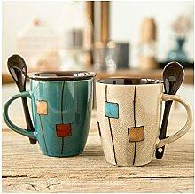 Becher Keramikschale Mit Deckel Und Löffel Muster