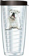 Becher mit Deckel, Bulldoggen-Motiv, 473 ml