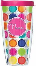 Becher mit Deckel, Motiv: Nana On Happy Circles,