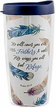 Becher mit Deckel, Motiv: Refuge Under His Wings