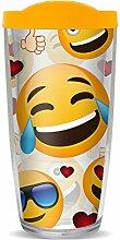 Becher mit Emoji-Gesichtern und gelbem Deckel, 473