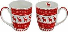 Becher mit Henkel Becherset 2 St. inkl. Geschenkverpackung Weihnachtsbecher rot weiß Elche ppd Magic Christmas