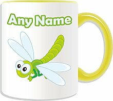Becher, personalisiert, Motiv Libelle, Tier-Design, Motiv: Insekten, Farbe zur Auswahl, mit Name/Nachricht an ihr einzigartiges Becher, keramik, gelb