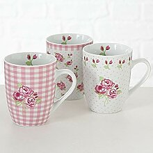 Becher Rosie 3sort H11cm 390ml rosa Porzellan