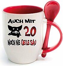 Becher Rot mit Keramiklöffel zum 20. Geburtstag. * Geile Sau * Wählen Sie aus 45 Tassen. Gerne ändern wir auch das Alter für Sie um. Alle Zahlen verfügbar.
