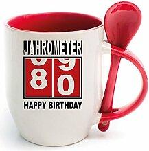 Becher Rot mit Keramiklöffel zum 80. Geburtstag. * Jahrometer * Wählen Sie aus 45 Tassen. Gerne ändern wir auch das Alter für Sie um. Alle Zahlen verfügbar.
