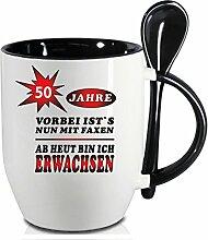 Becher Schwarz mit Keramiklöffel zum 50. Geburtstag. * Ab heute Erwachsen * Wählen Sie aus 45 Tassen. Gerne ändern wir auch das Alter für Sie um. Alle Zahlen verfügbar.