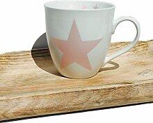 Becher STAR Pink Porzellan Metallic 360 ml Optik
