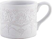 Becher, Tasse EMBOSSED H. 7,5cm D. 8,5cm grau Keramik Creative Tops (10,50 EUR / Stück)