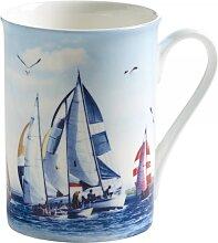Becher Tasse NAUTICAL Segeln 400ml weiß blau Porzellan Maxwell & Williams (11,95 EUR / Stück)