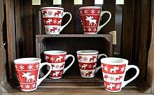 Becher Tasse Weihnachtsbecher Glühweinbecher 6er Set rot weiß X-mas Weihnachten