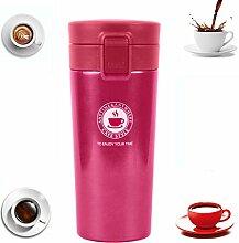 Becher Thermobecher Kaffee Reisebecher Trinkbecher To Go Coffee Thermo Kaffeebecher Mit Deckel Travel Mug Auto Auslaufsicher Isolierter Isolierbecher Caffee Autobecher Bpa Frei 0.38L (Rose rot)