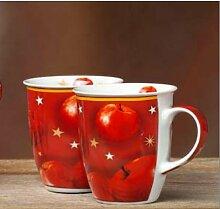 Becher Winterapfel 2 Kaffeebecher für Weihnachten Glühweinbecher