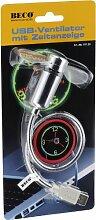 Beco USB-Ventilator mit Uhrzeitanzeige analog, 17 LEDs, An-und Aus-Schalter, Ziffernblatt grüne und Zeiger rote LED's 611.39
