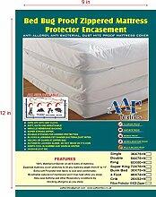Bed Bug Proof Anti Allergy Total Gehäuse umgreifung Displayschutzfolie Bezug, alle Größen erhältlich, Textil, weiß, Double 137x190x23cm