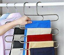 Beddingleer 2 Stück Kleiderbügel aus Edelstahl Platzsparend Hosenbügel für 5 Hosen Magie Platz Saver für Kleider Handtuch Schal Hose Krawatte (2 St.)