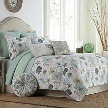 Beddingleer Tagesdecke Gesteppt Patchwork Bettwäsche Baumwolle 230 x 250 cm Bettüberwurf Decke für Winter Seashells im Romantische Stil für Doppelbe