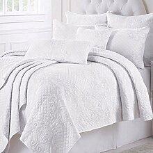 Beddingleer Tagesdecke Weiss Baumwolle