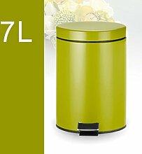Bedeckt mit Abdeckung Fußpedal Edelstahl Trash Home Wohnzimmer Küche Badezimmer ( Farbe : Apple Green , größe : 7l )
