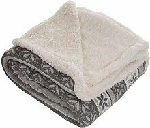 Bedford Home Überwurf Decke-Fleece/Sherpa grau