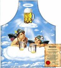 bedruckte Fun Grill Schürze - Motiv: 2 Engel im Bierhimmel - Spaß Grill Kochschürze Weihnachten Motivschürze Tracht Nikolaus