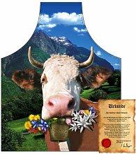 bedruckte Fun Grill Schürze - Motiv: Alpenkuh -
