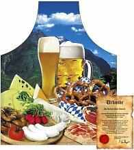 bedruckte Fun Grill Schürze - Motiv: Bayerische Brotzeit - Spaß Grillschürze Kochschürze Weihnachten Tracht Nikolaus Küche