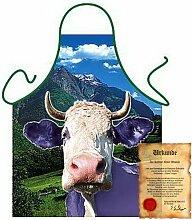 bedruckte Fun Grill Schürze - Motiv: Lila Kuh - Spaß Grillschürze Kochschürze Weihnachten Motivschürze Tracht Nikolaus Küche