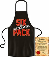 bedruckte Fun Grill Schürze - Motiv: Sixpack im