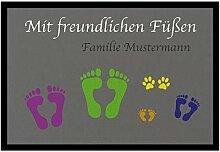 Bedruckte Fußmatte - Mit freundlichen Füssen -