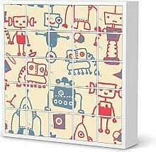 Bedruckte Klebe-Folie für IKEA Expedit Regal 25 Türen   Möbelgestaltung Kindermöbel Möbeldekor   Deko Ideen Erlebnisraum Kindertapeten   Kids Kinder Crazy Robots