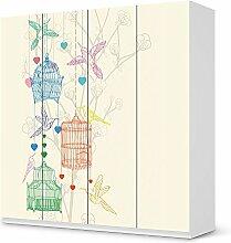 Bedruckte Klebe-Folie für IKEA Pax Schrank 201 cm Höhe - 4 Türen   Möbel verschönern Möbelaufkleber Möbelfolie   Schöner Wohnen Wohnzimmer-Möbel Wohn Deko Ideen   Design Motiv Birdcage