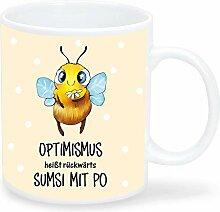 Bedruckte Tasse mit Biene Optimismus bedeutet