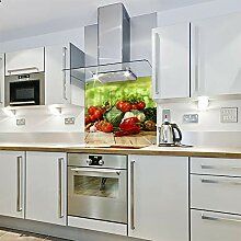 Bedruckter Spritzschutz aus Glas mit Gemüse (600