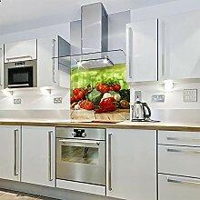 Bedruckter Spritzschutz aus Glas mit Gemüse (900