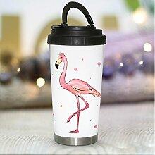 Bedruckter Thermobecher konisch Edelstahl Flamingo