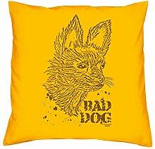 bedrucktes Kissen Tiermotiv Bad Dog Geschenkidee Dekokissen Geburtstagsgeschenk für Hundeliebhaber inkl. Füllung 40 X 40 cm Farbe: gelb